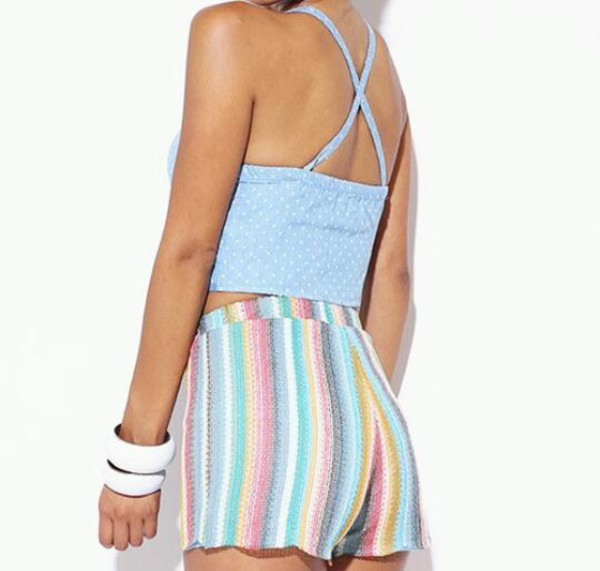 shorts vintage High waisted shorts stripes
