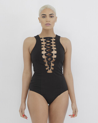 top bodysuit black black bodysuit open front open front bodysuit caged caged bodysuit