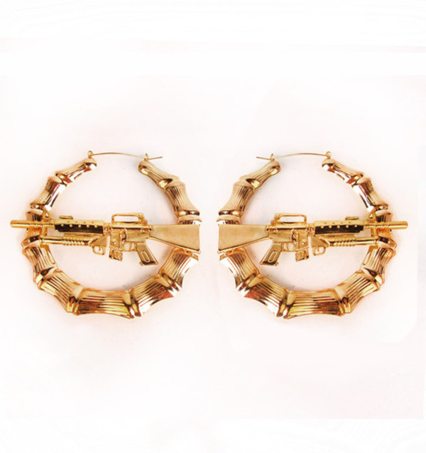 jewels bamboo earrings earrings gold gun gun earrings hoop earrings gold earrings jewelry