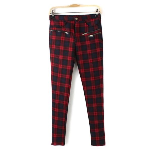 Women Full Length Skinny Flexible Zipper Decorate Cotton Pencil Pants