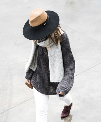 ms treinta blogger sweater coat scarf shoes bag hat oversized sweater grey sweater felt hat ankle boots white jeans