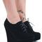 Ladies wedge shoes lace booties wedges high heel platform short ankle boots siz   ebay