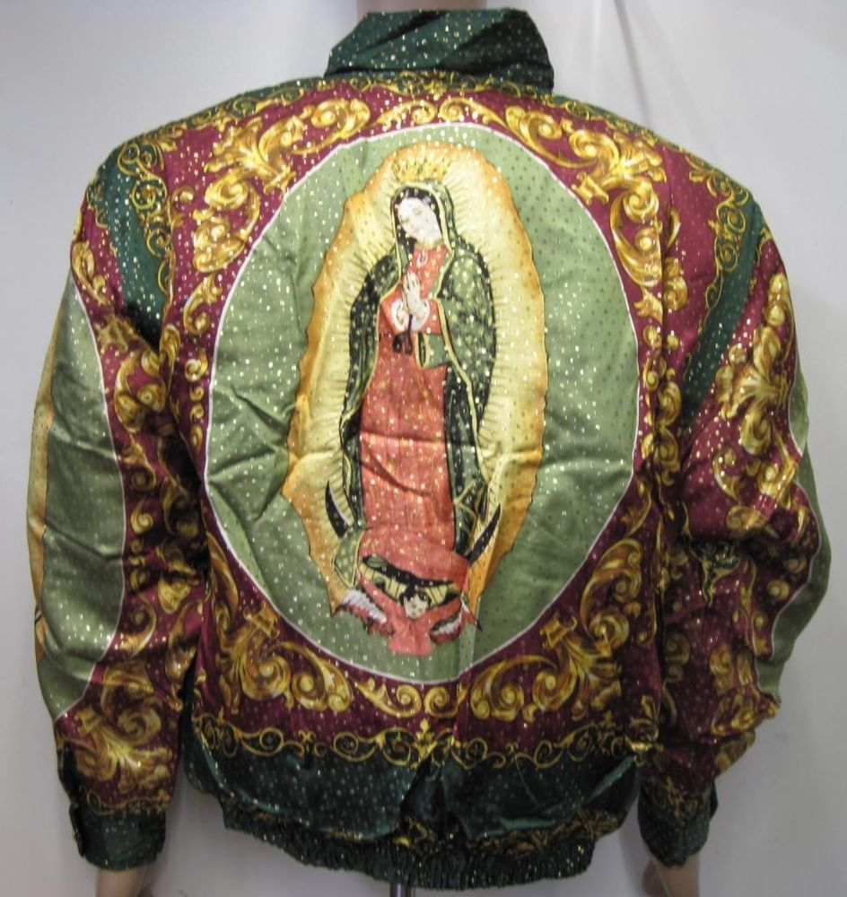 """Vintage 90s Bomber Jacket """"Our Lady of Guadalupe Virgin Mary"""" Baroque Style Silk 