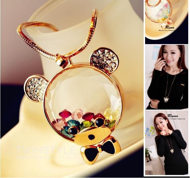 2014 hot sale high quality Trend fashion glass 18k gold bear pendant necklace for long jewelry Factory Price-in Choker Necklaces from Jewelry on Aliexpress.com