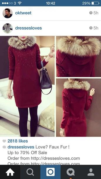 dress hoddie hooded red diamonds diamond dress fluffy fur beauiful long sleeves long sleeve dress red dress Hooded dress dress