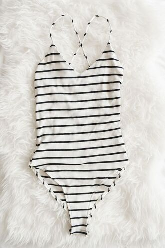swimwear black and white stripes one piece swimsuit