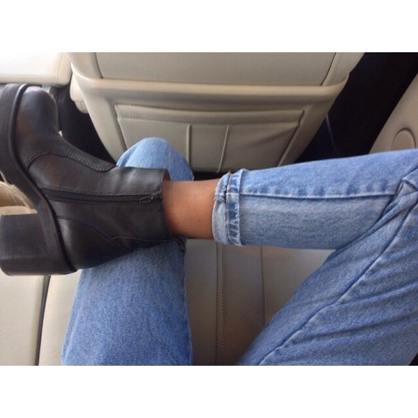 shoes ankle boot heels jeans
