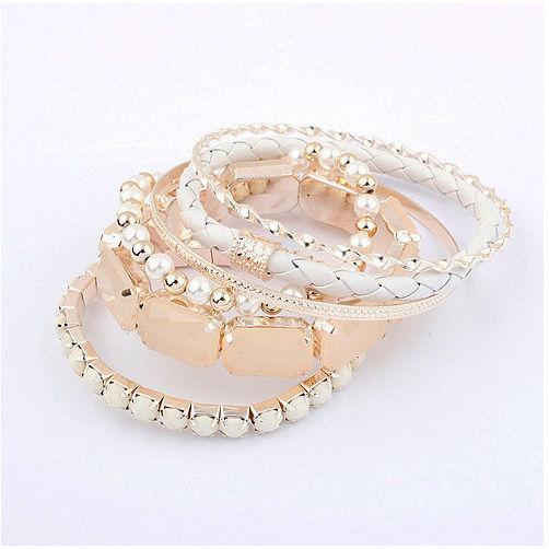 Bohemian Romatic Fashion Bracelet Set Bangle 6pcs Multilayer Beads White JW066 | eBay
