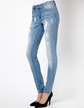 Only   Only Ripped Skinny Jean at ASOS