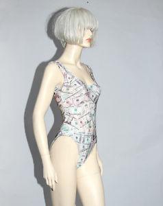 Money Print One Piece Swimsuit Bodysuit Leotard Dollar Bills Spandex Retro | eBay