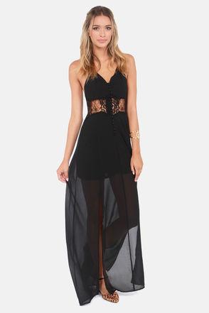 Pretty Black Dress - Maxi Dress - Lace Dress - $49.00