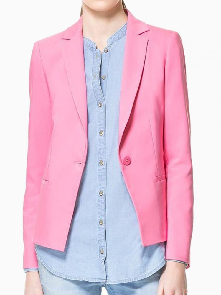 Pink Basic Blazer | Choies