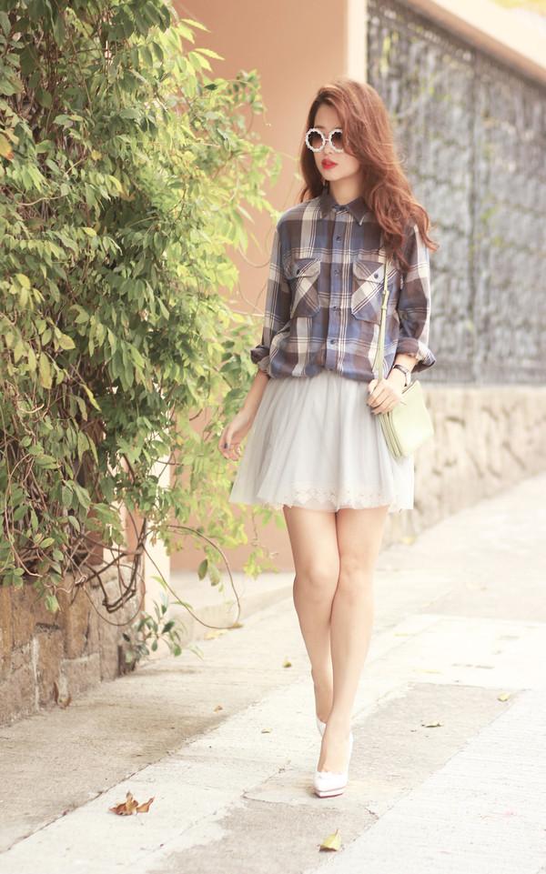 mellow mayo sunglasses shirt skirt bag shoes jacket t-shirt shorts