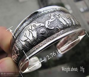 Tibetan Tibet Silver Lucky Totem Bangle Cuff Bracelet Elephant | eBay