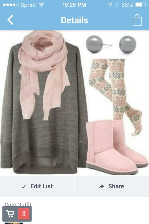 scarf pink solid pink shirt oversized grey solid color sweater pants tribal pattern jewels big pearl shoes classic shorts ugg boots