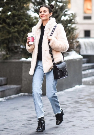 jacket jeans winter outfits streetstyle ny fashion week 2017 victoria justice nyfw 2017