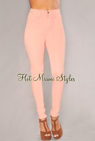 Peach High-Waist Skinny Jeans