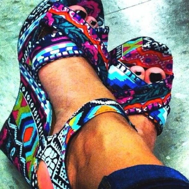 shoes aztec summer tribal pattern tribal pattern tribal shoes wedges multicolor compens?es summer shoes coloful heels