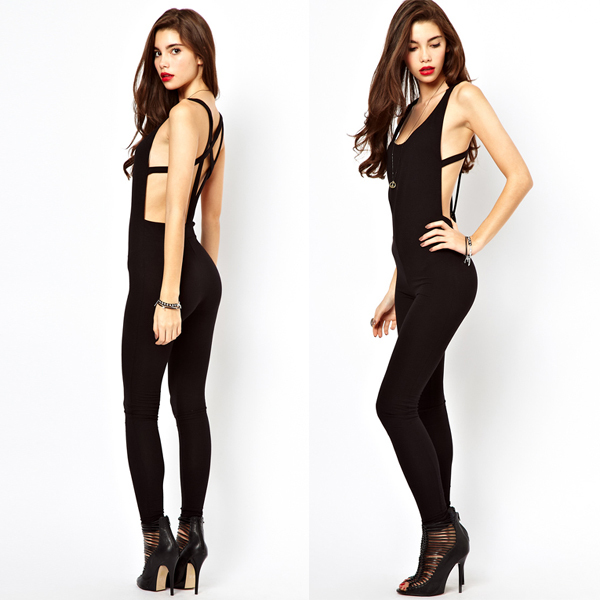 New Fashion 2014 Spring  summer overalls rompers womens bodycon sexy black jumpsuit Back Out Sleeveless bandage Jumpsuits-in Jumpsuits & Rompers from Apparel & Accessories on Aliexpress.com