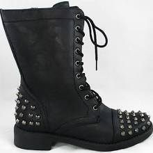 Ladies Spike Studs Military Combat Lace Up Ankle Boot Shoes Black 5.5 - 10