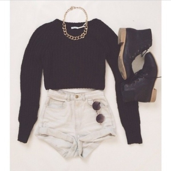 shirt jewels shoes shorts dress top sunglasses High waisted shorts combat boots sweater black cozy jumper black sweater winter jumper small black boots knitted sweater blouse tumblr clothes tumblr shirt white black crop top black ankle boots gold chain