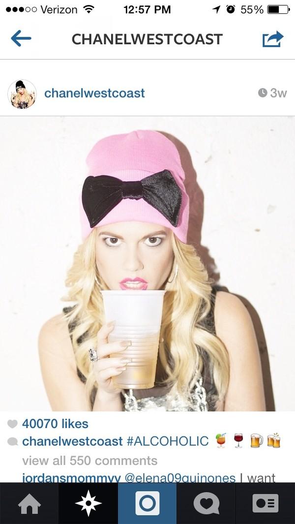 hat bow beanie pink pink beanie