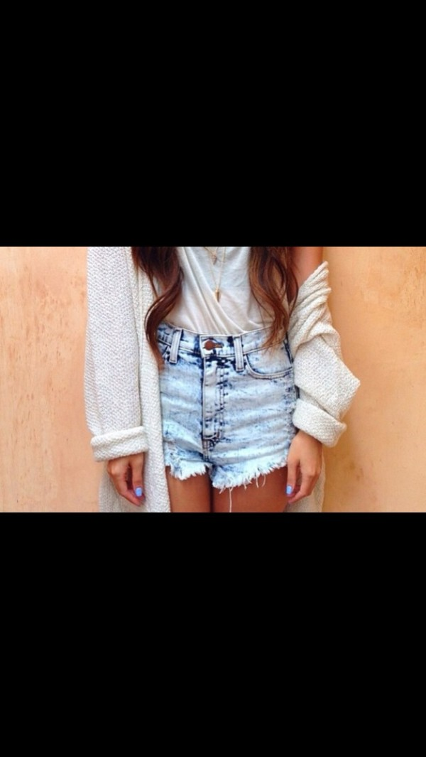 shorts High waisted shorts bleached shorts sweater