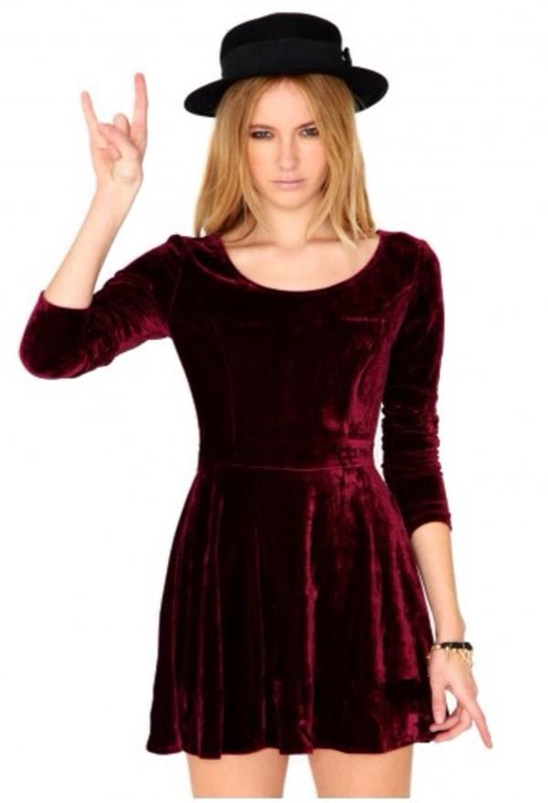 dress velvet crushed velvet skater dress burgundy burgundy dress velvet dress three-quarter sleeves