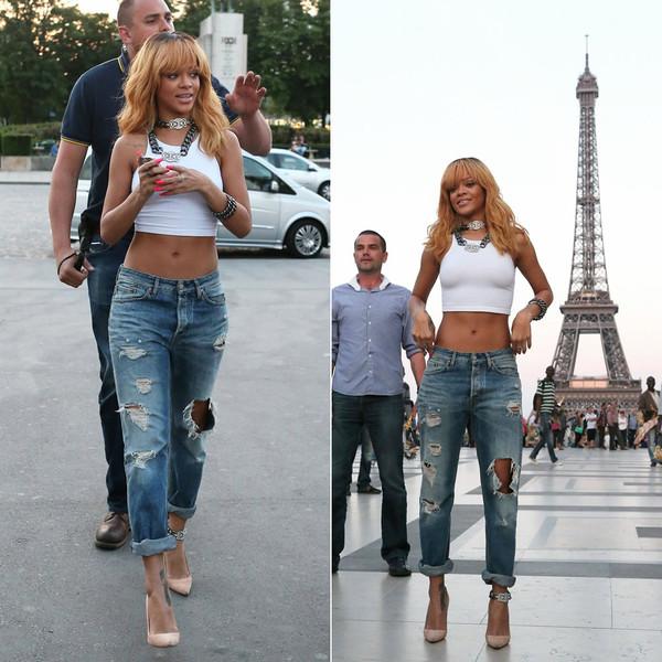 pants rihanna jeans wripped paris eiffel tower tank top jewels