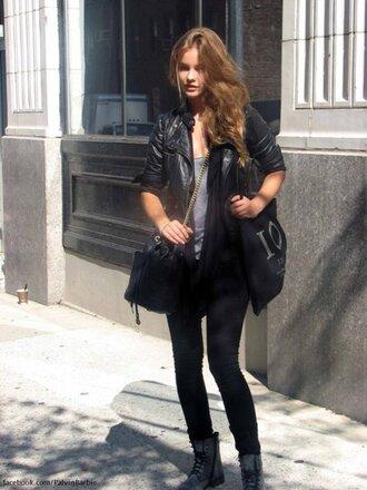 jacket black jens shoes shirt clothes barbara palvin model pants bag