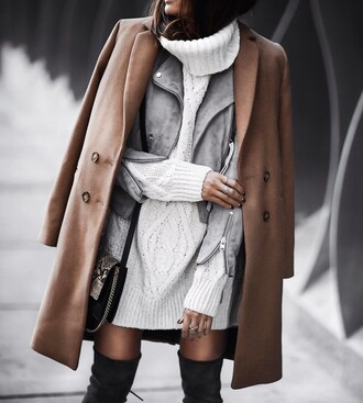 dress tumblr sweater dress mini dress white dress knitwear knitted dress mini knit dress white knit dress cable knit turtleneck dress jacket grey jacket coat camel camel coat bag boots grey boots over the knee boots