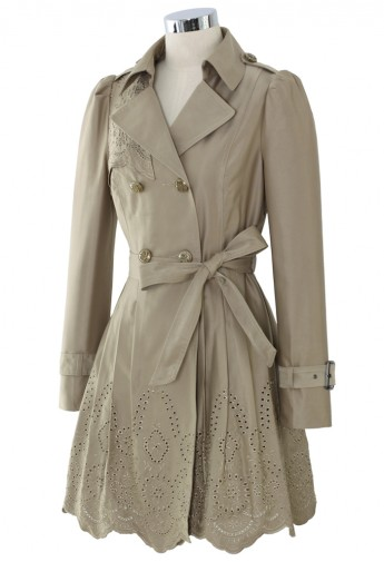 Floral Cut Out Tirm Trench Coat in Tan - Retro, Indie and Unique Fashion