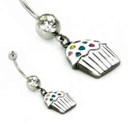 """14g 7/16"""" Belly Button Jewelry Cup Cake with Sprinkles Belly Button Ring White - Painful Pleasures"""