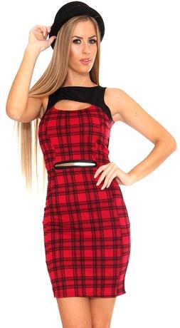 Hestia Tartan Bodycon Dress In Red