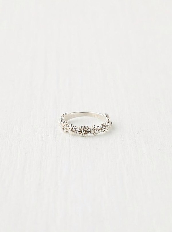jewels silver ring silver ring flower ring free people stacking delicate ring swimwear