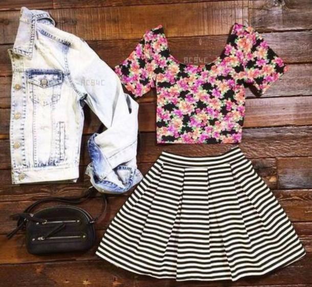 skirt stripy skirt floral top denim jacket jacket top
