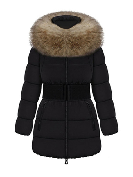 women coat black coat fur hood belted coat down jacket curvy
