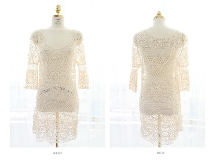 Womens Lace Crochet Bikini Swimwear Cover Up Beach Bathing Suit Dress 3 Colors-in Dresses from Apparel & Accessories on Aliexpress.com