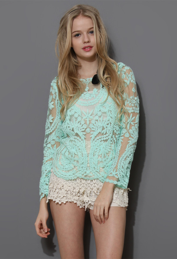 sweater delicacy crochet top mint