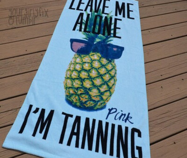 swimwear towel pink tanning pineapple victoria's secret pink by victorias secret beach towel