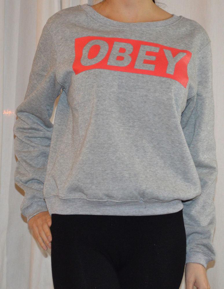 Womens Obey Print sweat Shirts 2 Sizes Very Warm Great Quality   eBay