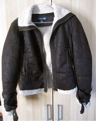 S M Faux Suede Shearling Brown and Beige F21 Coat Jacket Moto Like Burberry | eBay