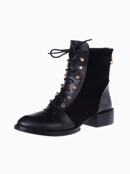 Lace Up Ankle Boots With Studs | Choies