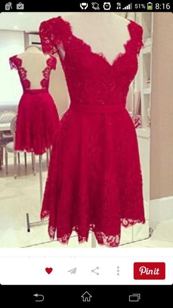 dress red dress lace dress girly lace short dress