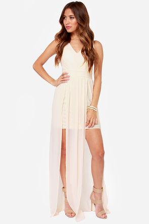 Pretty Cream Dress - Maxi Dress - $77.00