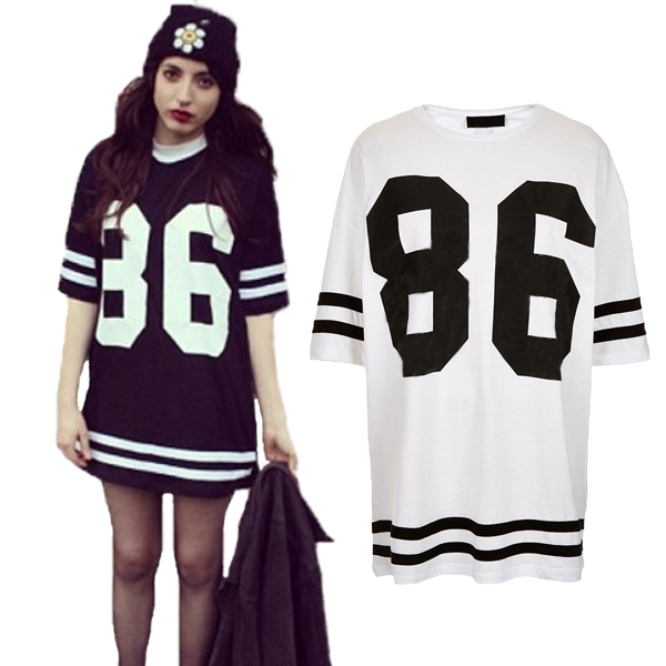 New Fashion Women Celeb Plus Size 86 American Baseball Tee T shirt Top Loose Fit Short Sleeve Loose Shirt Dress Black/White S XL-in Dresses from Apparel & Accessories on Aliexpress.com
