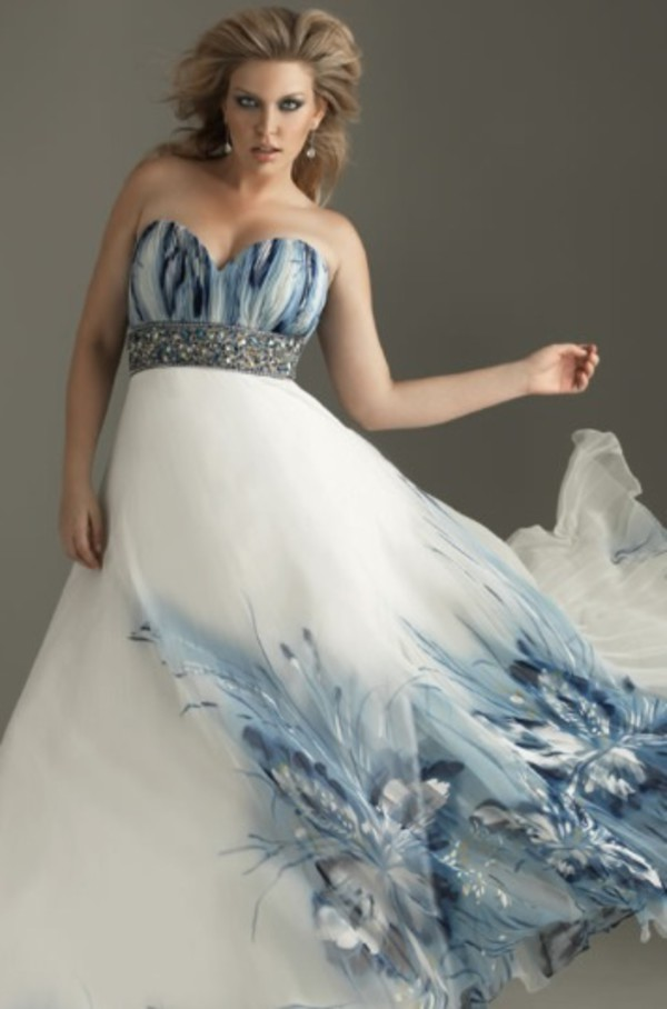 dress prom dress blue white