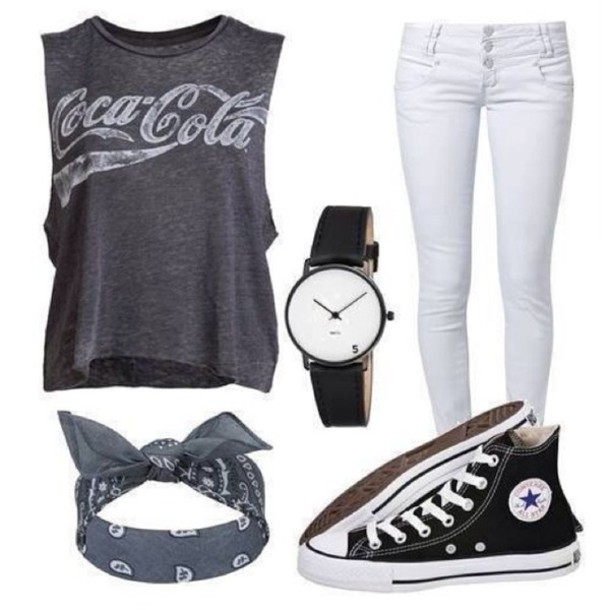bandana coca cola grey t-shirt white jeans chucks converse cool girl style swag shirt jeans hair accessory shoes