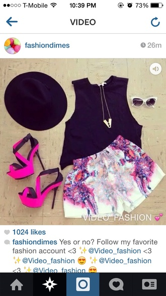 shorts pink geometric white white shorts shoes jewels purple neon fluoro shift