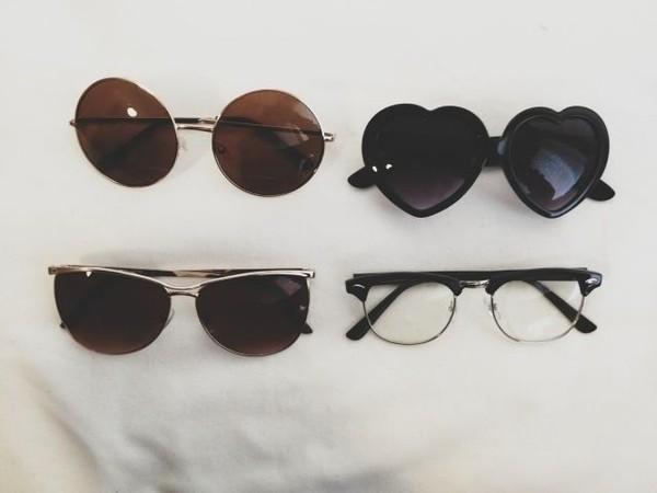 sunglasses heart shaped cute black heart shape john lennon shades heart sunglasses summer instagram round frame glasses nerd glasses